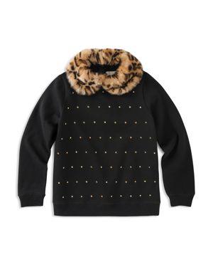 kate spade new york Girls' Studded Sweatshirt with Faux-Fur Collar - Big Kid