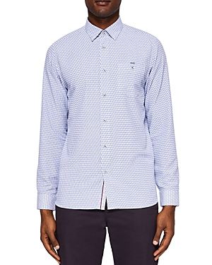 Ted Baker Wyne Polynosic Geo Print Regular Fit Button-Down Shirt