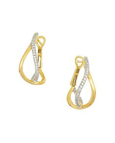 Frederic Sage - 18K Yellow Gold Small Diamond Crossover Hoop Earrings