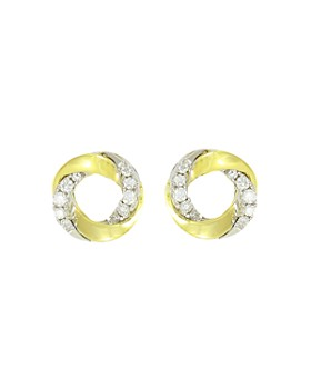 Frederic Sage - 18K White & Yellow Gold Mini Halo Diamond Stud Earrings