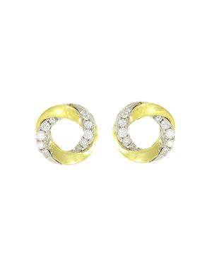 Frederic Sage 18K White & Yellow Gold Mini Halo Diamond Stud Earrings
