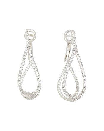 Frederic Sage - 18K White Gold Diamond Crossover Loop Earrings