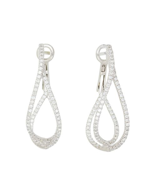 Frederic Sage - 18K White Gold Diamond Crossover Loop Earrings