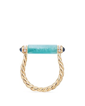David Yurman - Barrels Ring with Diamonds, Amazonite & Sapphires in 18K Gold