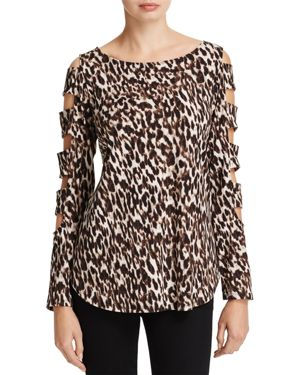 Status by Chenault Leopard Print Cutout Ladder Sleeve Top