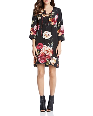 Karen Kane Floral Print Lace-Up Shift Dress