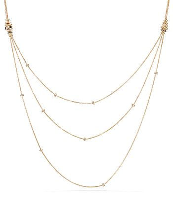 David Yurman - Stax Color Chain Necklace with Black Spinel, Black Enamel & Diamonds in 18K Gold