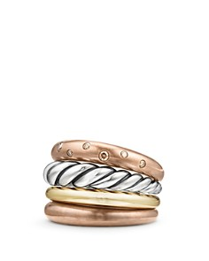 David Yurman - Pure Form Mixed Metal Four-Row Ring with Cognac Diamonds, Bronze & Sterling Silver