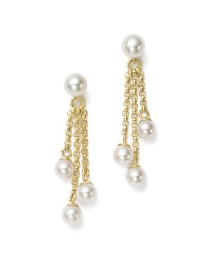 Bloomingdale's Cultured Freshwater Pearl Chain Tassel Earrings in 14K Yellow Gold, 4-6mm - 100% Excl