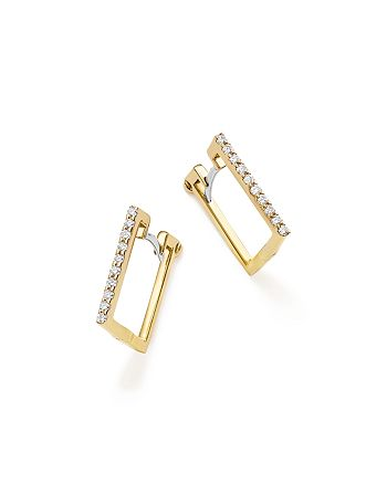Roberto Coin - 18K Yellow Gold Diamond Square Hoop Earrings