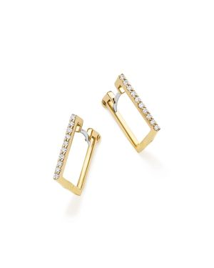 Roberto Coin 18K Yellow Gold Diamond Square Hoop Earrings
