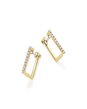 Roberto Coin 18K Yellow Gold Diamond Square Hoop Earrings