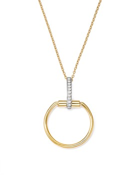Roberto Coin - 18K White & Yellow Gold Classic Parisienne Diamond Round Pendant Necklace, 17""