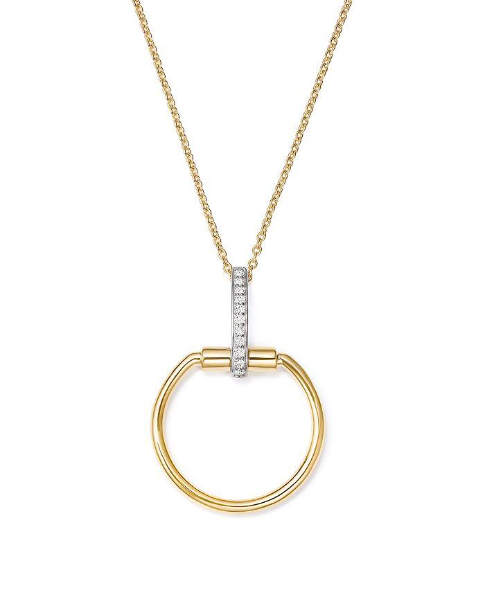 "Roberto Coin - 18K White & Yellow Gold Classic Parisienne Diamond Round Pendant Necklace, 17"""