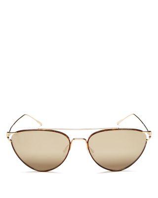 Women'S Floriana Brow Bar Mirrored Cat Eye Sunglasses, 56Mm, Dtbk/Taupe Flash Mirror