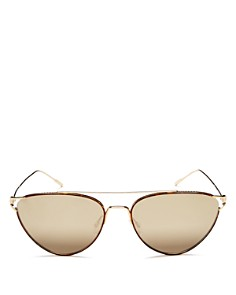 Oliver Peoples - Women's Floriana Brow Bar Mirrored Cat Eye Sunglasses, 56mm