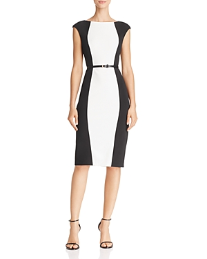 Adrianna Papell Belted Color-Block Dress