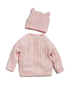 Elegant Baby - Girls' Cable-Knit Sweater & Beanie Gift Set - Baby
