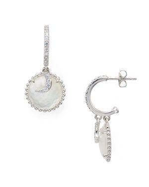 Nadri Caviar Disc Crescent Earrings