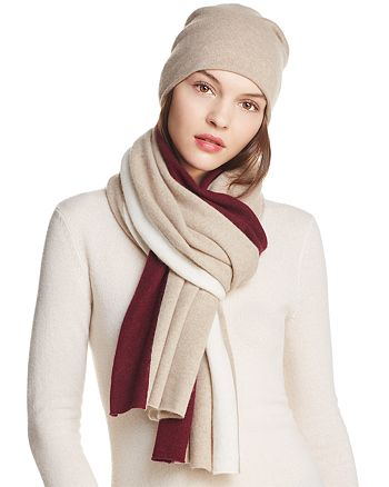 C by Bloomingdale's - Angelina Cashmere Slouch Hat & Angelina Cashmere Stripe Scarf - 100% Exclusive