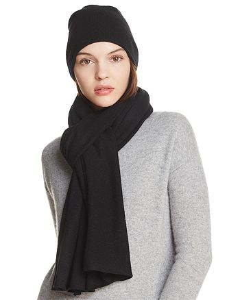 C by Bloomingdale's - Angelina Cashmere Solid Scarf and Slouch Hat - 100% Exclusive