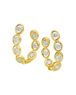 GUMUCHIAN 18K Yellow Gold Oasis Diamond Curve Earrings in White/Gold