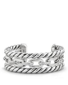 43e1c623ed94d David Yurman Tides Three Row Cuff Bracelet with Diamonds ...