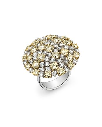 Roberto Coin - White & Yellow Diamond Cluster Ring in 18K Yellow & White Gold