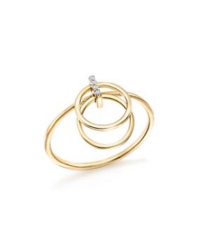 MATEO - 14K Yellow Diamond Accent Gold Circle Duo Ring