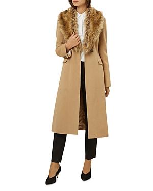 Hobbs London Alba Faux-Fur Collar Camel Hair Coat