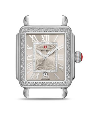 MICHELE Deco Madison Diamond Dial Watch Case, 33Mm X 35Mm in Silver/ Cashmere/ Silver