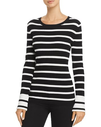 $Theory Prosecco Striped Crewneck Sweater - Bloomingdale's