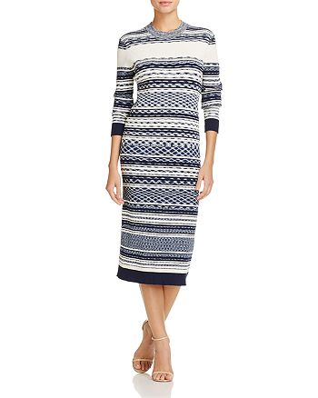 Tory Burch - Julie Mixed Stripe Midi Dress