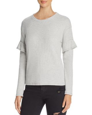 MARC NY PERFORMANCE PERFORMANCE RUFFLE TRIM STRIPED THERMAL TOP
