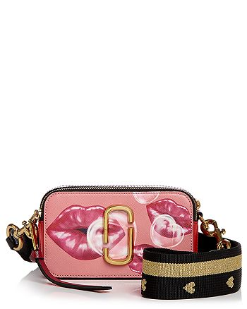 MARC JACOBS - Snapshot Printed Lips Color Block Leather Camera Bag