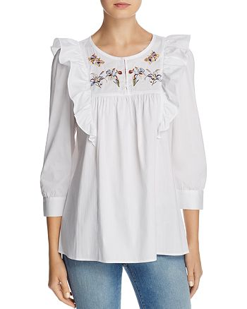 CATHERINE Catherine Malandrino - Jan Embroidered Ruffled Top