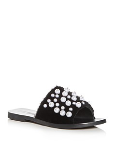 Sol Sana - Women's Teresa Embellished Faux-Fur Slide Sandals