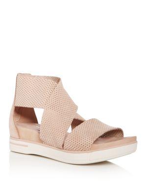 Women'S Perforated Nubuck Leather Crisscross Platform Sandals, Toffee/Cream