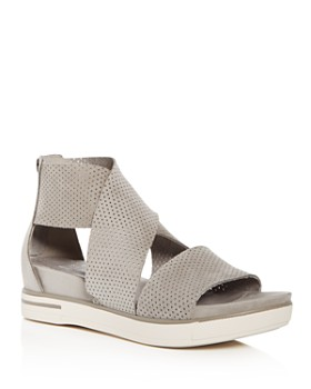 Eileen Fisher - Women's Perforated Nubuck Leather Crisscross Platform Sandals