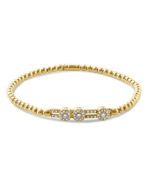 HULCHI BELLUNI 18K Yellow Gold Tresore Diamond Slim Stretch Bracelet in White/Gold