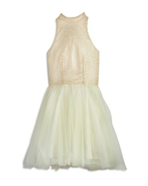 Miss Behave Girls' High-Neck Sequin & Tulle Dress - Big Kid