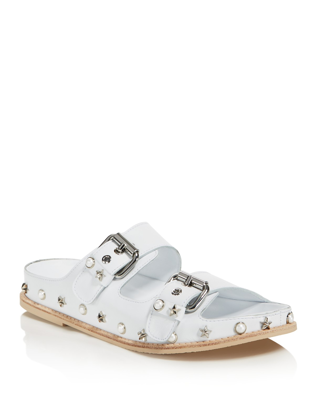Stuart Weitzman Women's Sandbar Embellished Leather Sandals NTKMX
