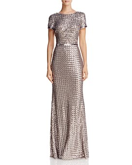AQUA - Belted Sequin Gown - 100% Exclusive