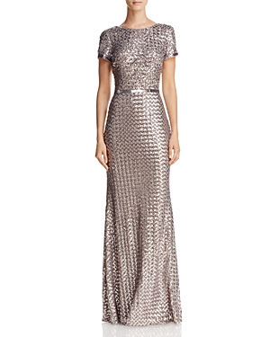 Belted Sequin Gown