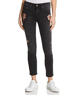 Mavi Adriana Floral-Embroidered Skinny Jeans in Smoke Rose