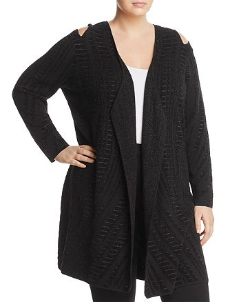 NIC and ZOE Plus - Winter Reign Metallic Cold Shoulder Duster Cardigan