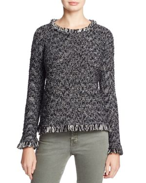 Nic+Zoe Misty Marled Fringe Trim Sweater