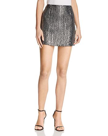 FRENCH CONNECTION - Desiree Disco Sequined Mini Skirt