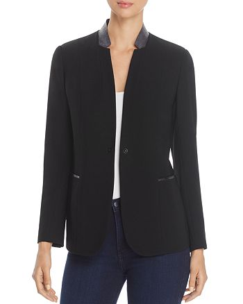T Tahari - Bria Faux-Leather Collar Blazer