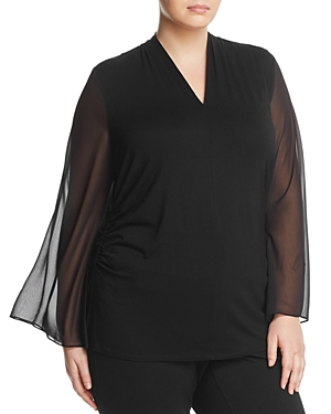 Vince Camuto Plus Mixed Media Bell Sleeve Top